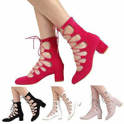 £12.99 • Buy Womens Zip Up Mid Block Heel Cut Out Ladies Lace Up Ankle Sandal Shoes Size 3-8