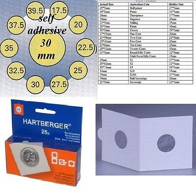 AU5 • Buy 25 HARTBERGER Self Adhesive  2 X 2  Coin Holders:30 Mm   Made In The Netherlands