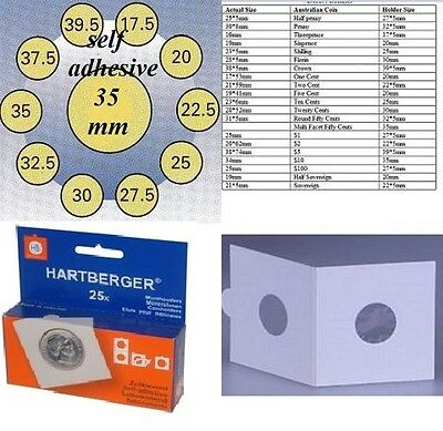 AU5 • Buy 25 HARTBERGER Self Adhesive  2 X 2 Coin Holders:35 Mm   Made In The Netherlands