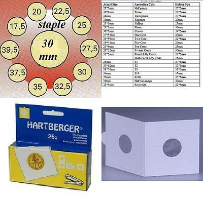 AU3 • Buy 25 HARTBERGER Staple  2 X 2 Coin Holders:30  Mm Made In The Netherlands