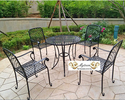 AU382.50 • Buy Indoor Outdoor TABLE & 4 CHAIRS PATIO SETTING Black METAL Garden DECKING CAFE