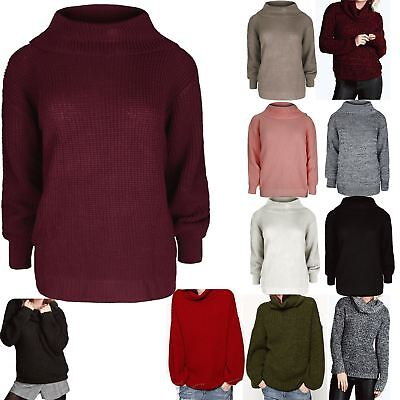 Womens Ladies Chunky Knitted Long Sleeve Oversized Roll Cowl Neck Jumper Tops • 6.99£