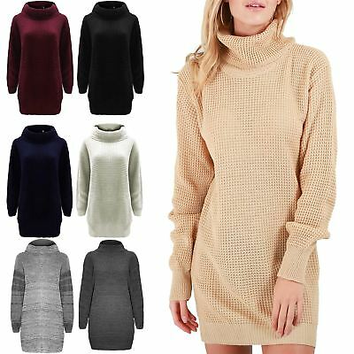Ladies Chunky Knitted Womens Long Sleeve Oversized Roll Cowl Neck Jumper Dress • 7.99£