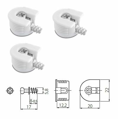White Knock Down Cam Lock - Flat Pack Furniture Fitting, Dowel Assembly Packs • 14£
