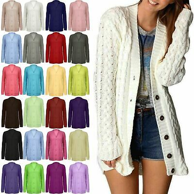 £8.99 • Buy Womens Ladies Grandad Long Sleeves Cable Chunky Knitted Long Cardigan Top Size