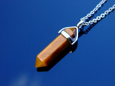 Tigers Eye Crystal Point Pendant Natural Gemstone Necklace Healing Stone Chakra • 5.98£