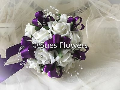 £16.99 • Buy WEDDING FLOWERS BRIDESMAID BOUQUET IN CADBURY PURPLE And Ivory Or White Just Ask
