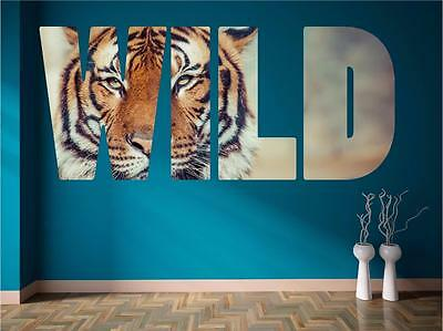 Wild Tiger Animal Huge Quote Wall Art Sticker Decal Print Self Adhesive P3K • 10.99£