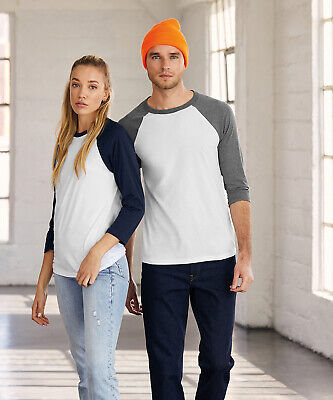 £9.99 • Buy BELLA CANVAS Mens Triblend 3/4 Sleeve Contrast Baseball T Shirt 3 Colours BE100
