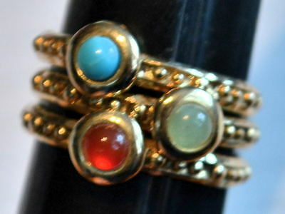 $ CDN290.33 • Buy Etrusca Italy Sterling Silver Gold Plated Beaded Stack Ring Size 7 Lot Of 3