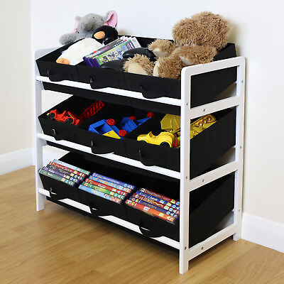 Black & White 3 Tier Toy Unit 9 Canvas Boxes/Drawers Kids/Childrens Storage • 24.99£
