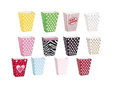 8 Party Popcorn Treat Boxes Polka Dot Loot Bags Birthday Paper Bags Cinema Sweet • 2.49£
