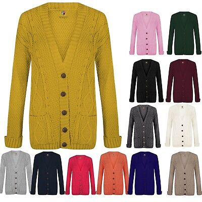 £9.99 • Buy Ladies Long Sleeve Button Top Chunky Aran/cable Knitted Grandad Pocket Cardigan