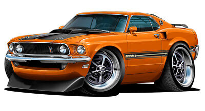 $14 • Buy 1969 Ford Mustang Mach 1 Muscle Car Art Print NEW