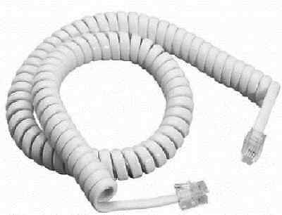 £1.90 • Buy Telephone Phone Curly Coiled  Handset Lead Cable Cord Wire Rj10 Plug White 2m