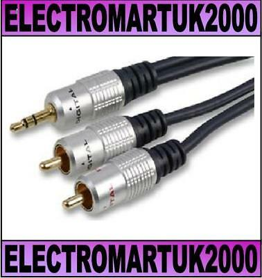 3.5mm Stereo Mini Jack To 2 X Rca Phono Aux Cable Lead Ofc Gold Plated 2m • 5.90£
