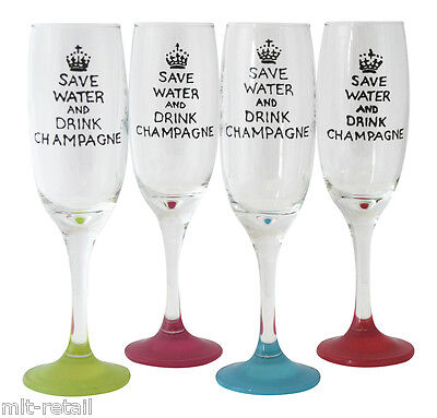 £13.99 • Buy Gift For Friend Who Likes Fizz,Save Water And Drink Champagne Hand Painted Flute