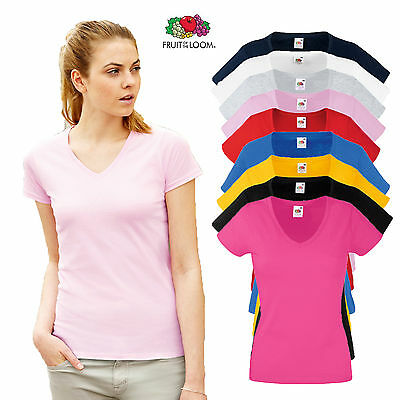 £4.50 • Buy Fruit Of The Loom Ladies Fitted V Neck T Shirt