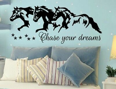 Chase Your Dreams W Horses And Stars Wall Vinyl Decal Sticker Nursery Motivation • 20.26£