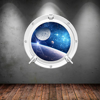 Full Colour Space Porthole Planet Spaceship Wall  Sticker Decal Transfer WSD628 • 11.98£