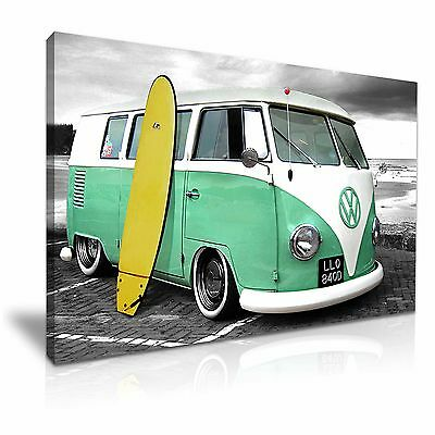 £30.99 • Buy VW Retro Camper Van With Surfing Board Canvas Wall Art Picture Print 76x50cm
