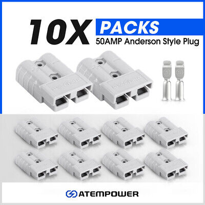 AU14.95 • Buy 10 X Anderson Style Plug Connectors 50 AMP 12-24V 6AWG DC Power Tool