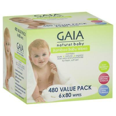 AU25.99 • Buy Gaia Natural Baby Bamboo Wipes 480