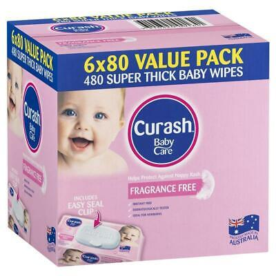 AU15.99 • Buy Curash Babycare Fragrance Free Wipes 6 X 80