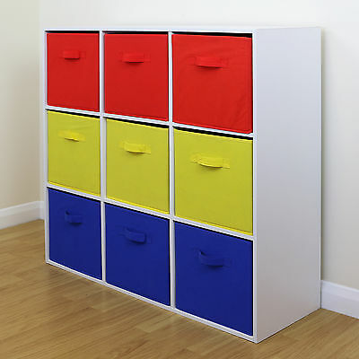 9 Cube Kids Red Yellow & Blue Toy/Games Storage Unit Girls/Boys Bedroom Shelves • 66.99£