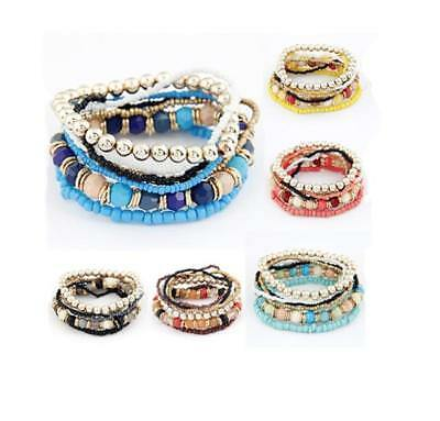Bohemian Hippy Multi  Bead Bracelet Stretchy Bangle  Boho Fashion Indie Surf  • 2.99£