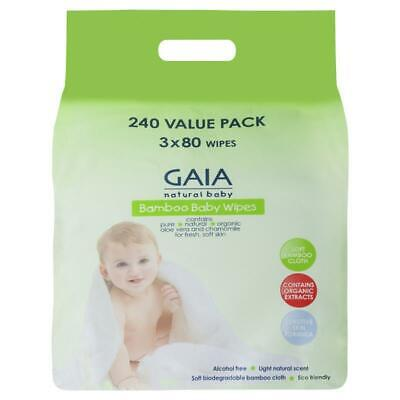 AU14.99 • Buy Gaia Natural Baby Bamboo Wipes 240