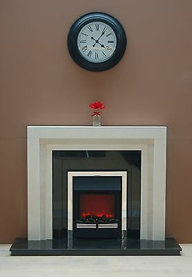 The Roma  Fireplace  Suite In Limestone With Black Granite Back And Hearth • 249£