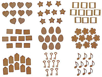 Laser Cut Wooden MDF Craft Small Shapes Blanks MULTIPLE DESIGNS • 1.50£