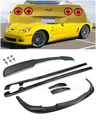 $464.93 • Buy ZR1 Style Front Lip Side Skirts Rear Spoiler COMBO KIT For 05-13 Corvette C6 Z06