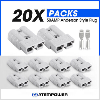 AU25.99 • Buy 20 X Anderson Style Plug Connectors 50 AMP 12-24V 6AWG DC Power Tool