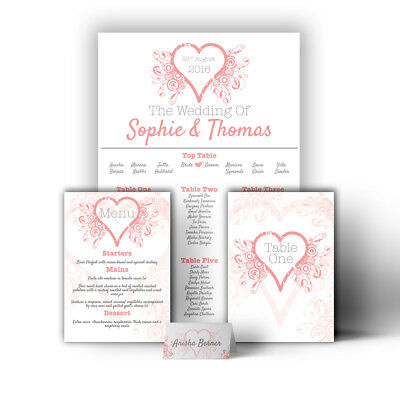 £32.99 • Buy Personalised Heart Romantic Wedding Table Seating Plan A1 A2 A3 Print Canvas
