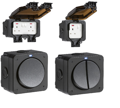 Outdoor Weatherproof IP66 Switch & Socket Timer & RCD Multi Option Accessories • 10.99£