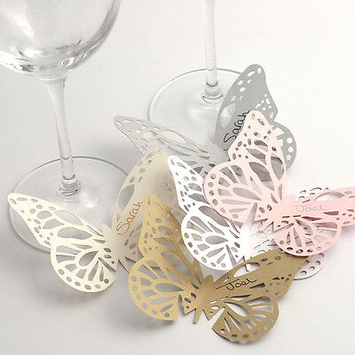 10 Pack Butterfly Glass Place Cards - Plain/Lace Laser Cut. Wedding Table Decor • 1.99£