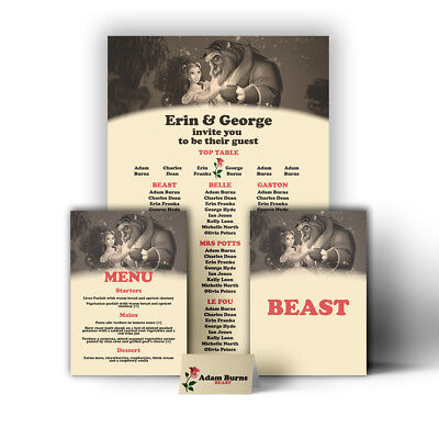 £32.99 • Buy Disney Themed Wedding Table Seating Plan Chart Beauty Beast Canvas Print Poster
