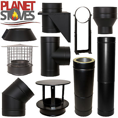 Black Shieldmaster Twin Wall Insulated Flue Stove Pipe Multifuel Wood Burning • 16.55£