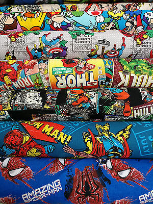 MARVEL & DC SUPERHEROS COMICS FABRIC 100% Cotton Material HULK, IRONMAN, THOR • 4.75£