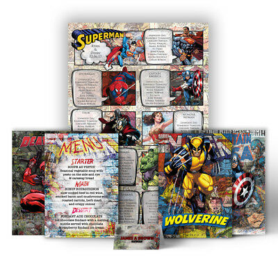 £42.99 • Buy Table Plan Inspired By DC Marvel Avengers Comic Themed Wedding Stationery Set