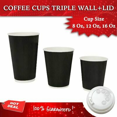AU99.90 • Buy Triple Wall Coffee Cups Disposable 50,100,250,500,1000 Cups + Lids Ripple Wall