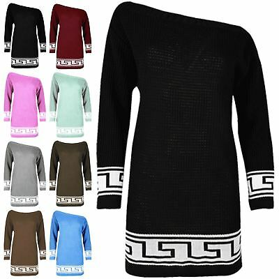 Womens Ladies Off The Shoulder Chunky Knitted Greek Aztec Print Jumper Dress Top • 4.40£