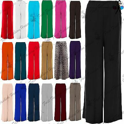Womens Baggy Wide Legged Ladies Trousers Pants Flared Palazzo Leggings Plus Size • 3.99£