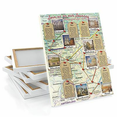 £32.99 • Buy Honeymoon Road Trip Map Wedding Table Seating Plan Chart Canvas ANY LOCATION