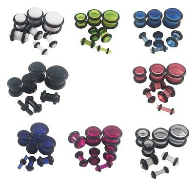 Acrylic Ear Plugs Stretching Tunnels Earlets Gauges With O-Rings 2mm - 10mm • 1.69£