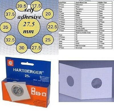 AU5 • Buy 25 HARTBERGER Self Adhesive 2 X 2 Coin Holders:27.5 Mm   Made In The Netherlands