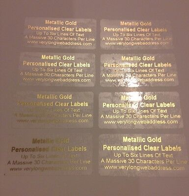 £6.99 • Buy 100 Gold Address Labels PERSONALISED CLEAR GLOSS STICKERS Metallic Gold Print