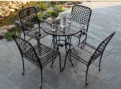 AU229.50 • Buy INDOOR OUTDOOR TABLE CHAIRS PATIO SETTING Metal Garden Balcony Cafe Black Square